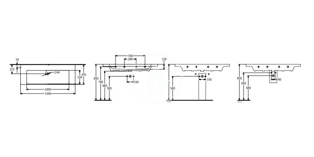 VILLEROY & BOCH - Subway 3.0 Umývadlo 1300x470 mm, bez prepadu, bez otvoru na batériu, alpská biela (4A70D301)