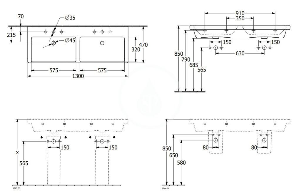 VILLEROY & BOCH - Subway 3.0 Dvojumývadlo nábytkové 1300x470 mm, s prepadom, otvory na batérie, alpská biela (4A71D501)
