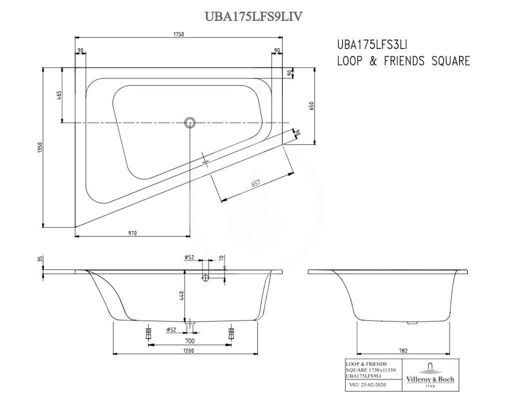 VILLEROY & BOCH - Loop&Friends Vaňa 1350x1750x440 mm, ľavá, biela (UBA175LFS9LIV-01)