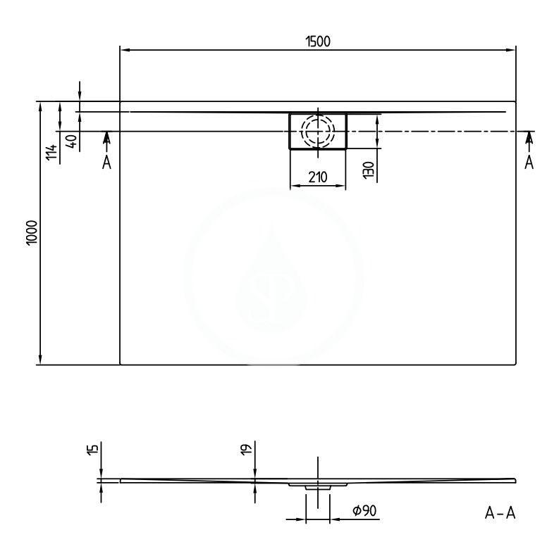 VILLEROY & BOCH - Architectura Sprchová vanička, 1500x1000 mm, VilboGrip, alpská biela (UDA1510ARA215GV-01)