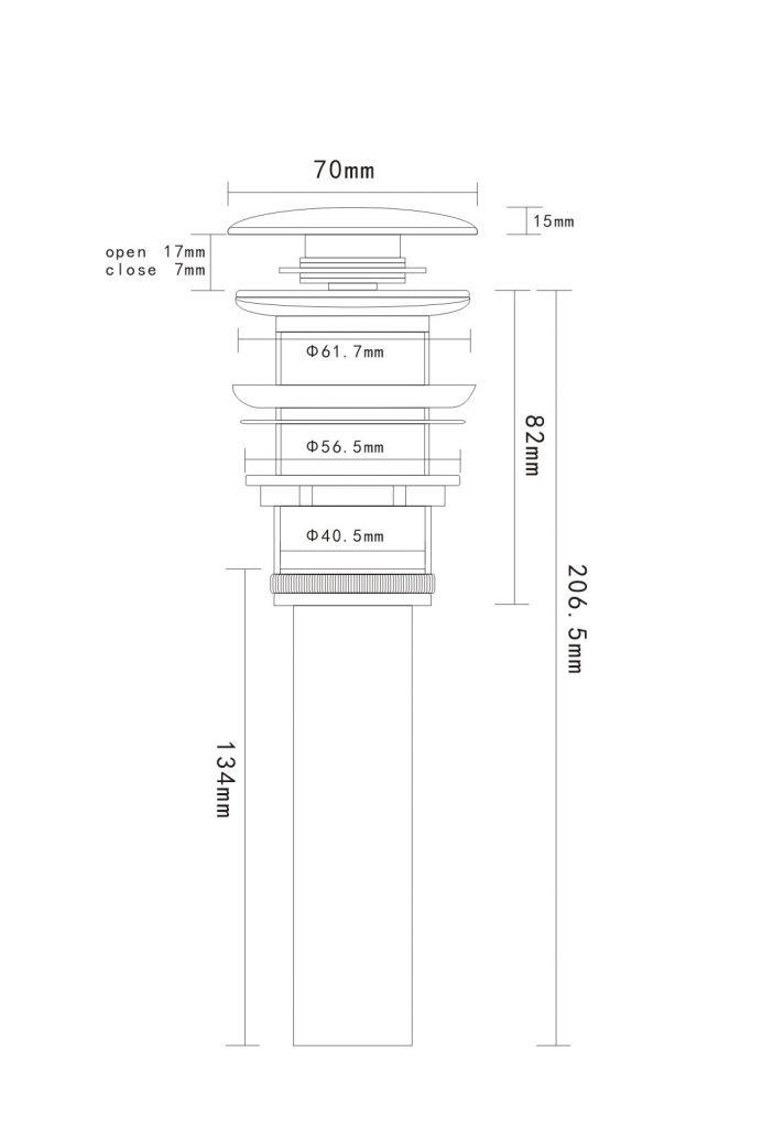 HOPA - Umývadlová výpust click-clack bez prepadu KERAMIKA (OLKLTPU11A)