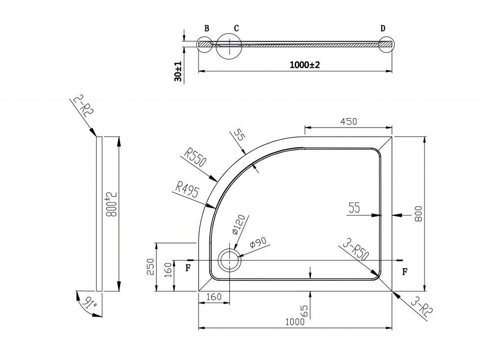 HOPA - asymetrická štvrťkruhová sprchová vanička VENETS - Rozmer A - 100 cm, Rozmer B - 80 cm, Spôsob prevedenia - Pravá (VANKASCTVR8010P)