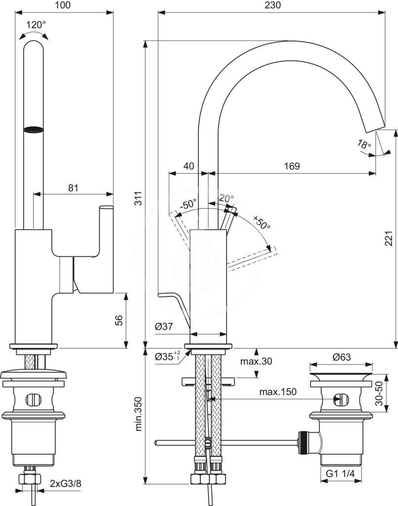 IDEAL STANDARD - Joy Umývadlová batéria s výpusťou, chróm (BC777AA)