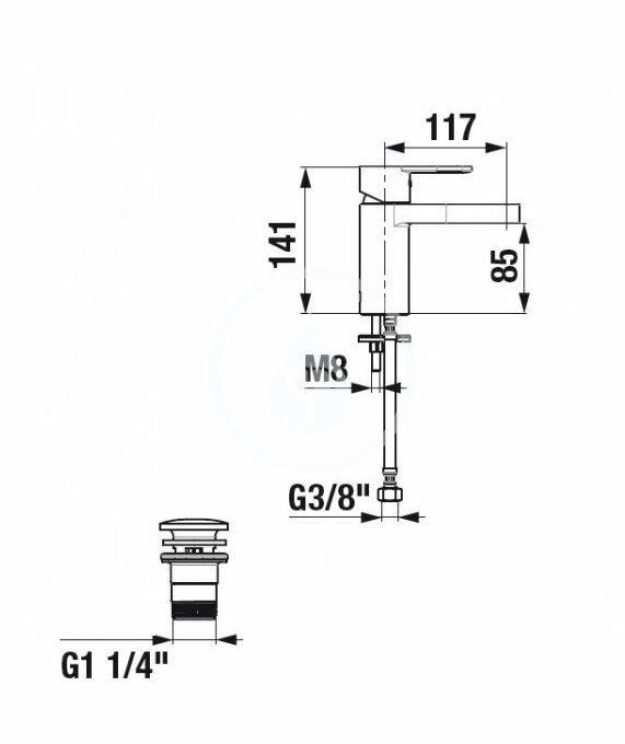 JIKA - Mio-N Umývadlová batéria s výpusťou, chróm (H3111V10041141)