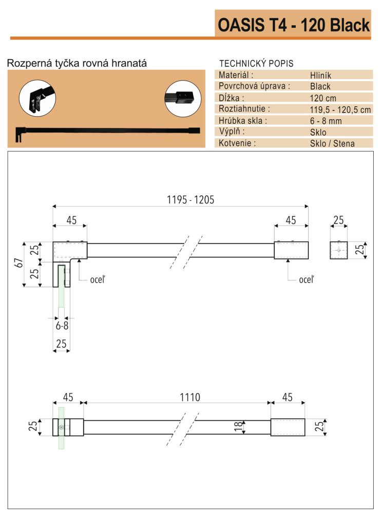 Aquatek - OASIS BLACK F1 80x200cm WALK-IN zástena (OASISBLACKF180)