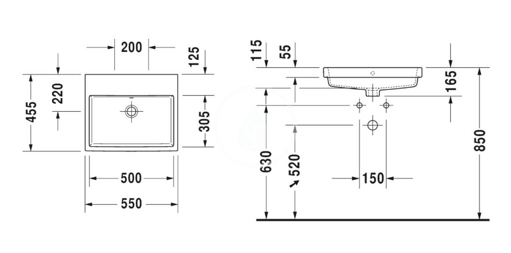 DURAVIT - Vero Air Umývadlo vstavané 550x455 mm, s prepadom, bez otvoru na batériu, WonderGliss, biela (03835500601)