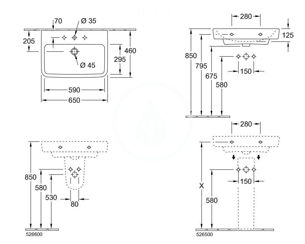 VILLEROY & BOCH - O.novo Umývadlo 650x460 mm, s prepadom, otvor na batériu, alpská biela (4A416501)