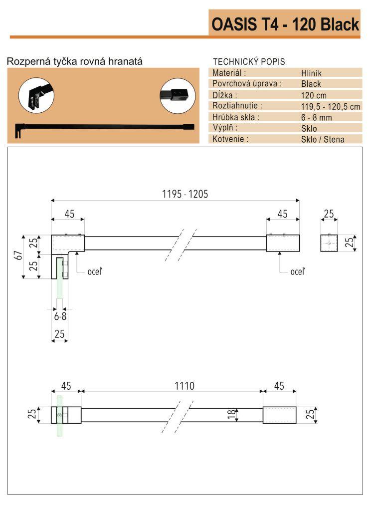 Aquatek - OASIS BLACK F1 120x200cm WALK-IN zástena (OASISBLACKF1120)