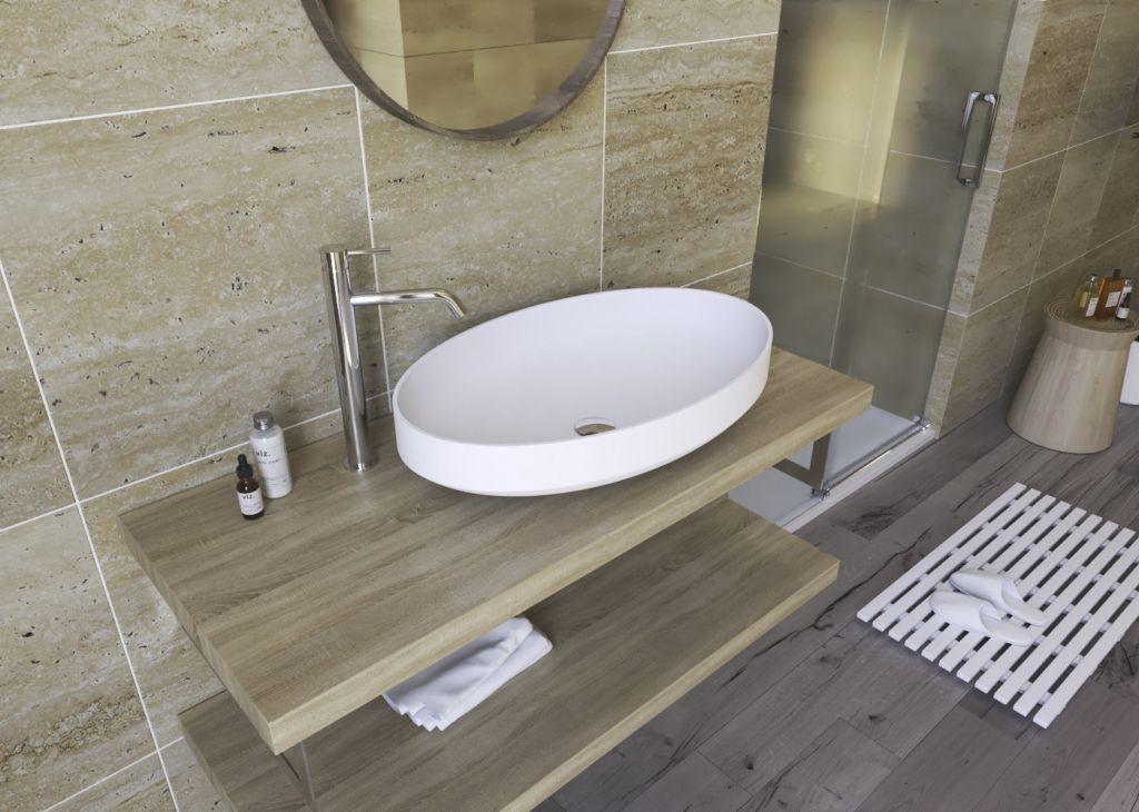 Aquatek - FOCUS oválne umývadlo z liateho mramoru 67,2x14,7x41,7 cm (FOCUS)