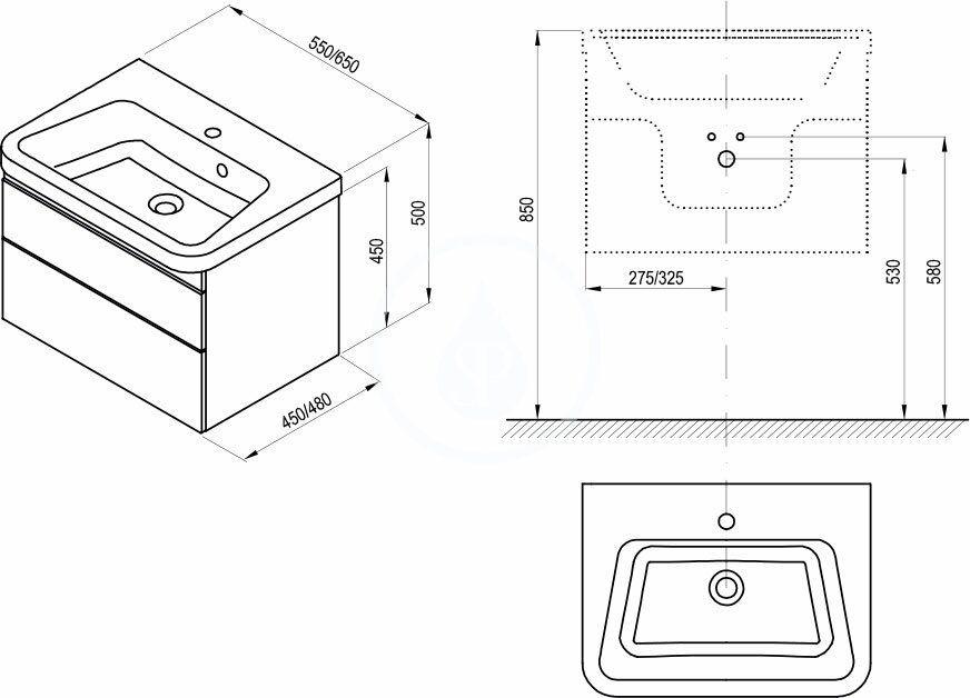 RAVAK - 10° Umývadlová skrinka SD II, 650x480x450 mm, 2 zásuvky, tmavý orech/lesklá biela (X000001288)