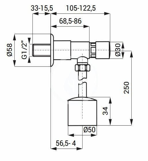 SANELA - Příslušenství Samozatvárací splachovač pisoáru, s pripojením, chróm (SLT 150P)