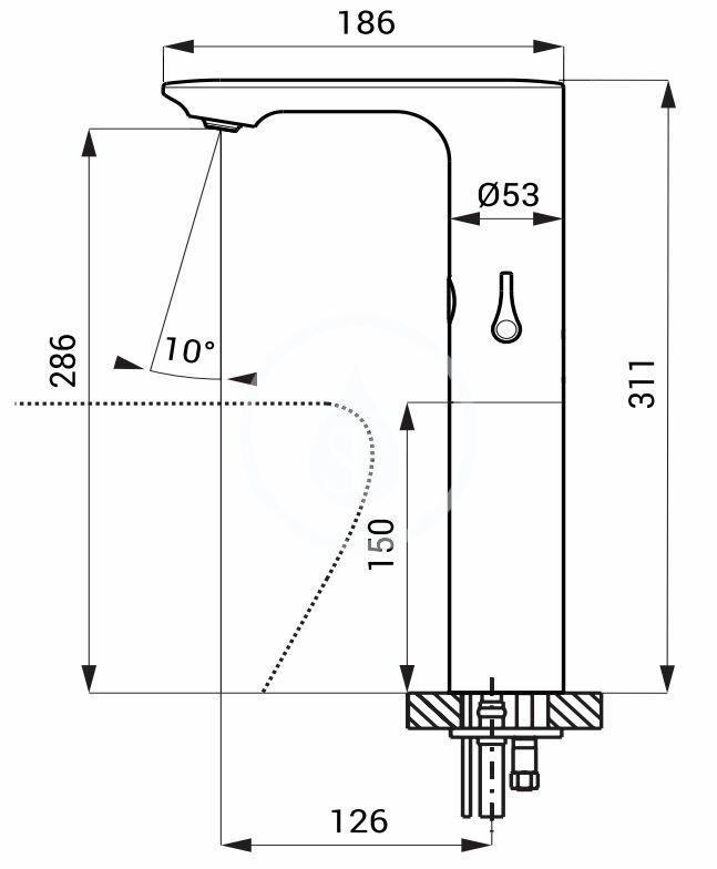 SANELA - Senzorové baterie Automatická umývadlová zmiešavacia batéria, sieťové napájanie, chróm (SLU 60)