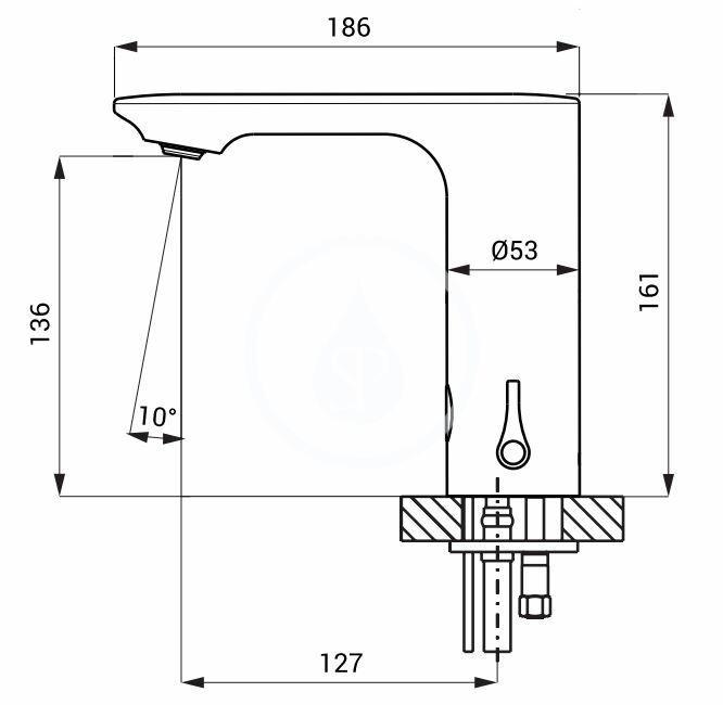 SANELA - Senzorové baterie Automatická umývadlová zmiešavacia batéria, batériové napájanie, chróm (SLU 63B)