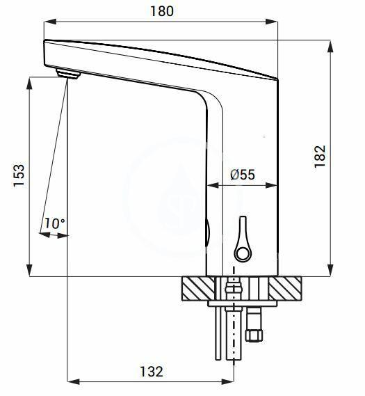 SANELA - Senzorové baterie Automatická umývadlová zmiešavacia batéria, batériové napájanie, chróm (SLU 83B)
