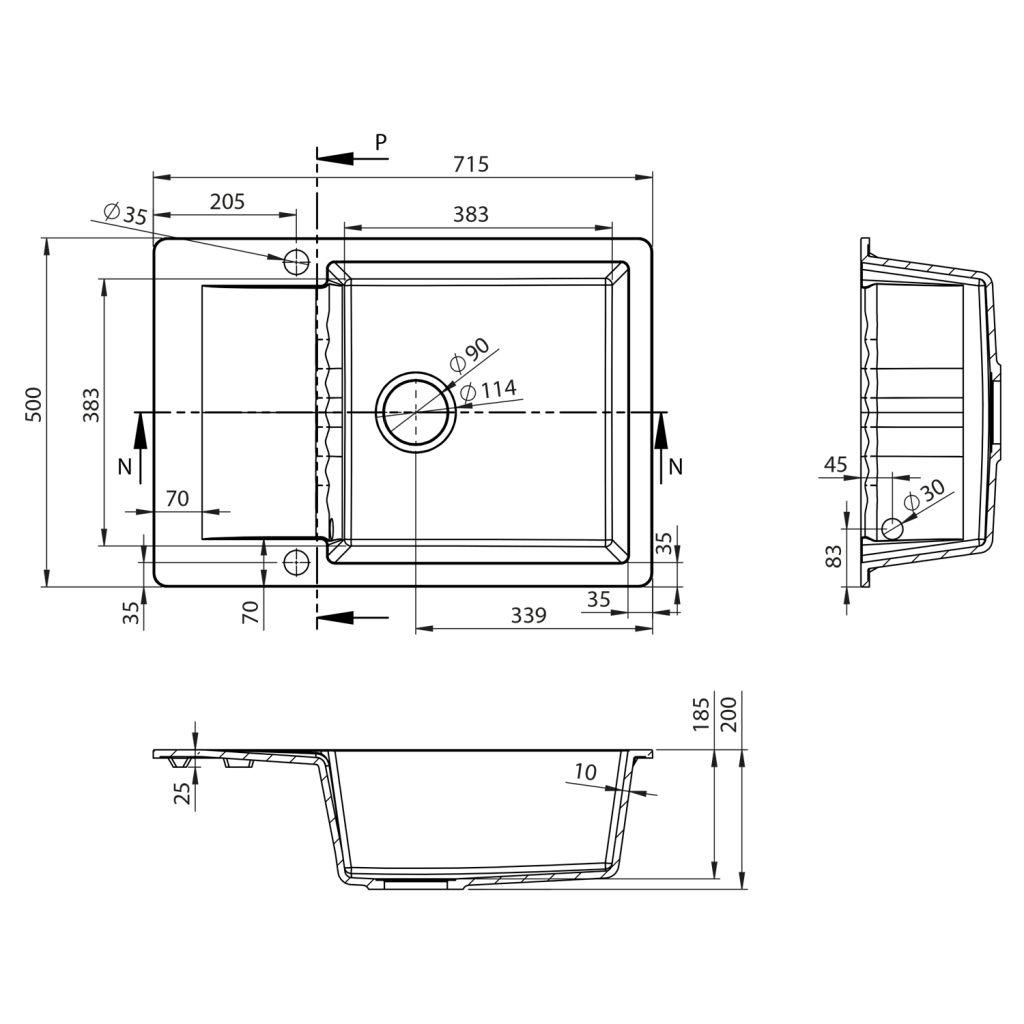 SAPHO - Drez granitový zabudovateľný s odkvapkávacou plochou, 71x50 cm, čierny (GR6534)