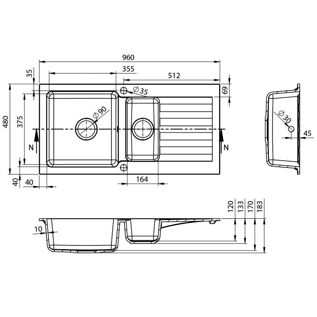 SAPHO - Drez granitový zabudovateľný s odkvapkávacou plochou a vaničkou, 96x48 cm, čierny (GR1334)
