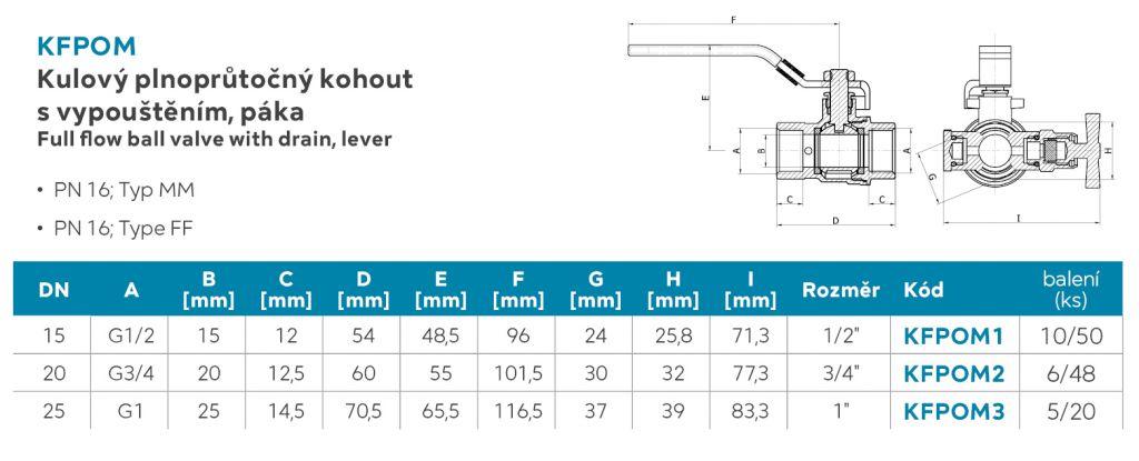NOVASERVIS - Guľový plnoprietokový kohút s vypúšťaním, páka MM 1