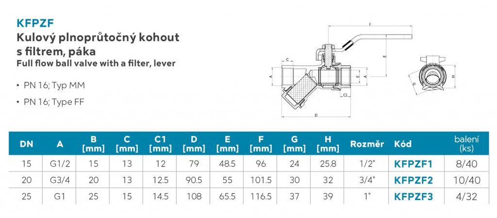 NOVASERVIS - Guľový plnoprietokový kohút s filtrom, páka MM 1