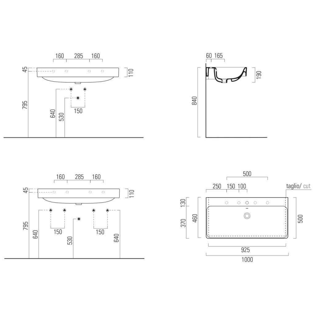 GSI - SAND keramické umývadlo 100x50cm, 3 OTVORY (9023311)