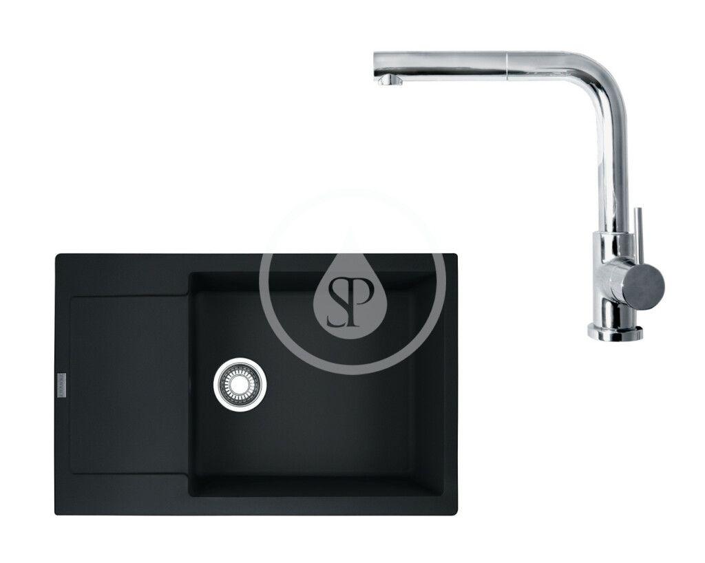 FRANKE FRANKE - Sety Set G75, fragranitový drez MRG 611-78 BB2 a batéria FN 0147.031, matná čierna/chróm 114.0650.575