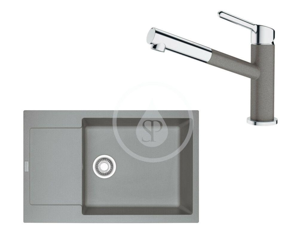 FRANKE FRANKE - Sety Set G195, fragranitový drez MRG 611-78 BB a batéria FC 3055.084, sivý kameň/chróm 114.0650.634
