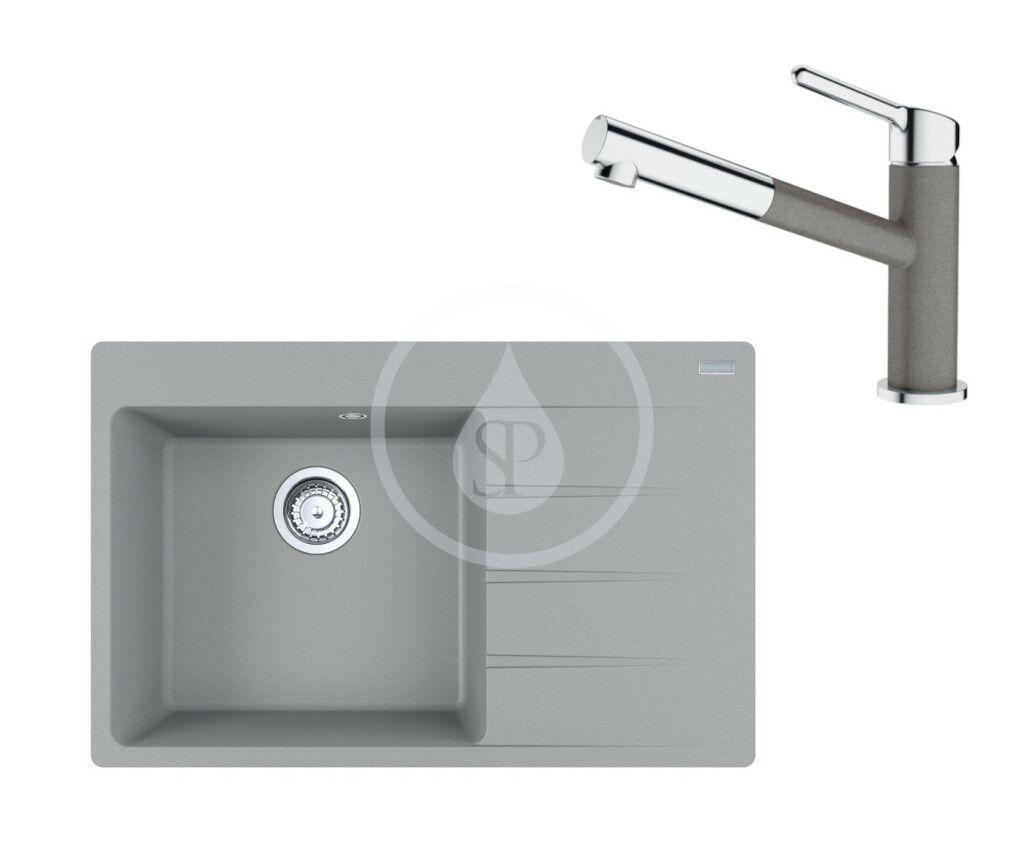 FRANKE FRANKE - Sety Set G219, fragranitový drez CNG 611-78 TL/2 a batéria FC 3055.084, sivý kameň/chróm 114.0650.827
