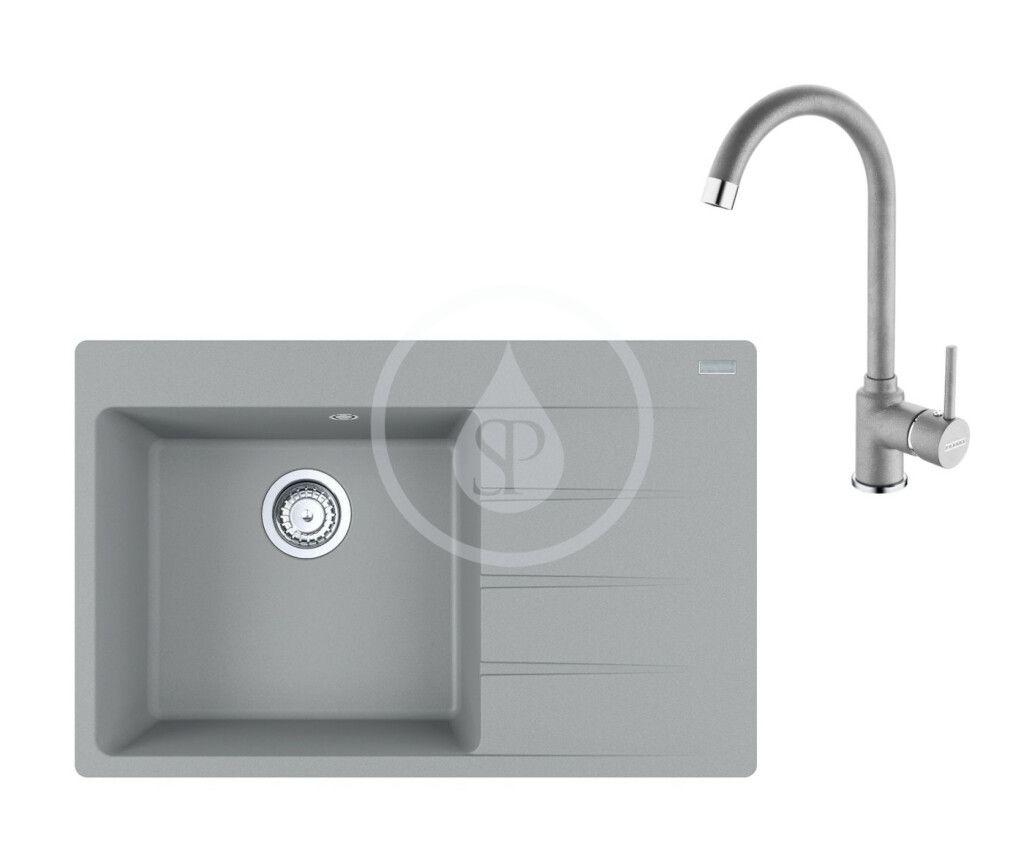 FRANKE FRANKE - Sety Set G234, fragranitový drez CNG 611-78 TL/2 a batéria FP 9000.084, sivý kameň 114.0650.843