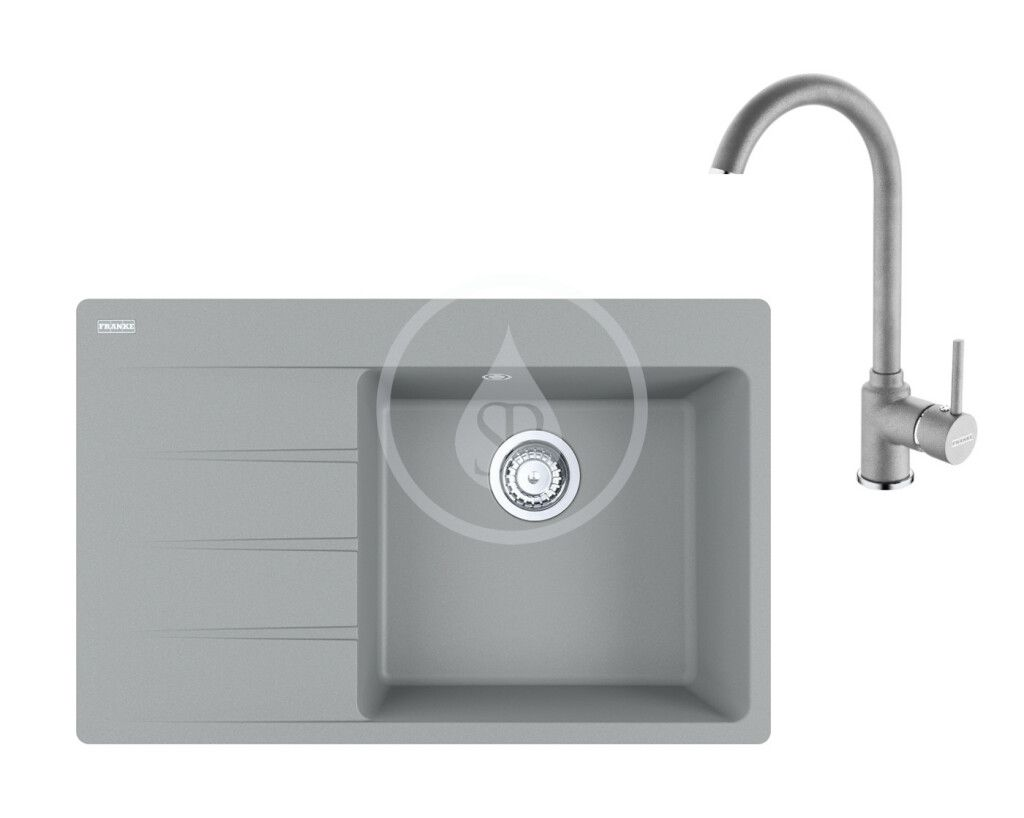 FRANKE FRANKE - Sety Set G235, fragranitový drez CNG 611-78 TL/7 a batéria FP 9000.084, sivý kameň 114.0650.847