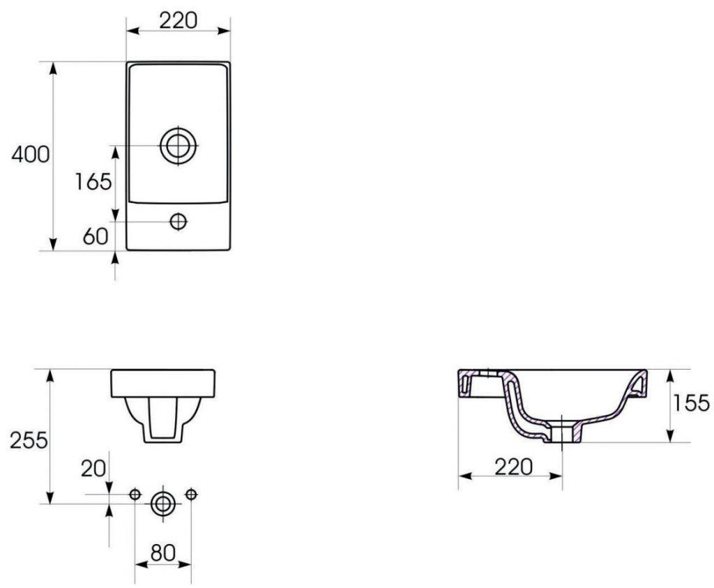 CERSANIT - NÁBYTKOVÉ UMÝVADLO MODUO 40X22 BOX (K116-016) 2.jakost