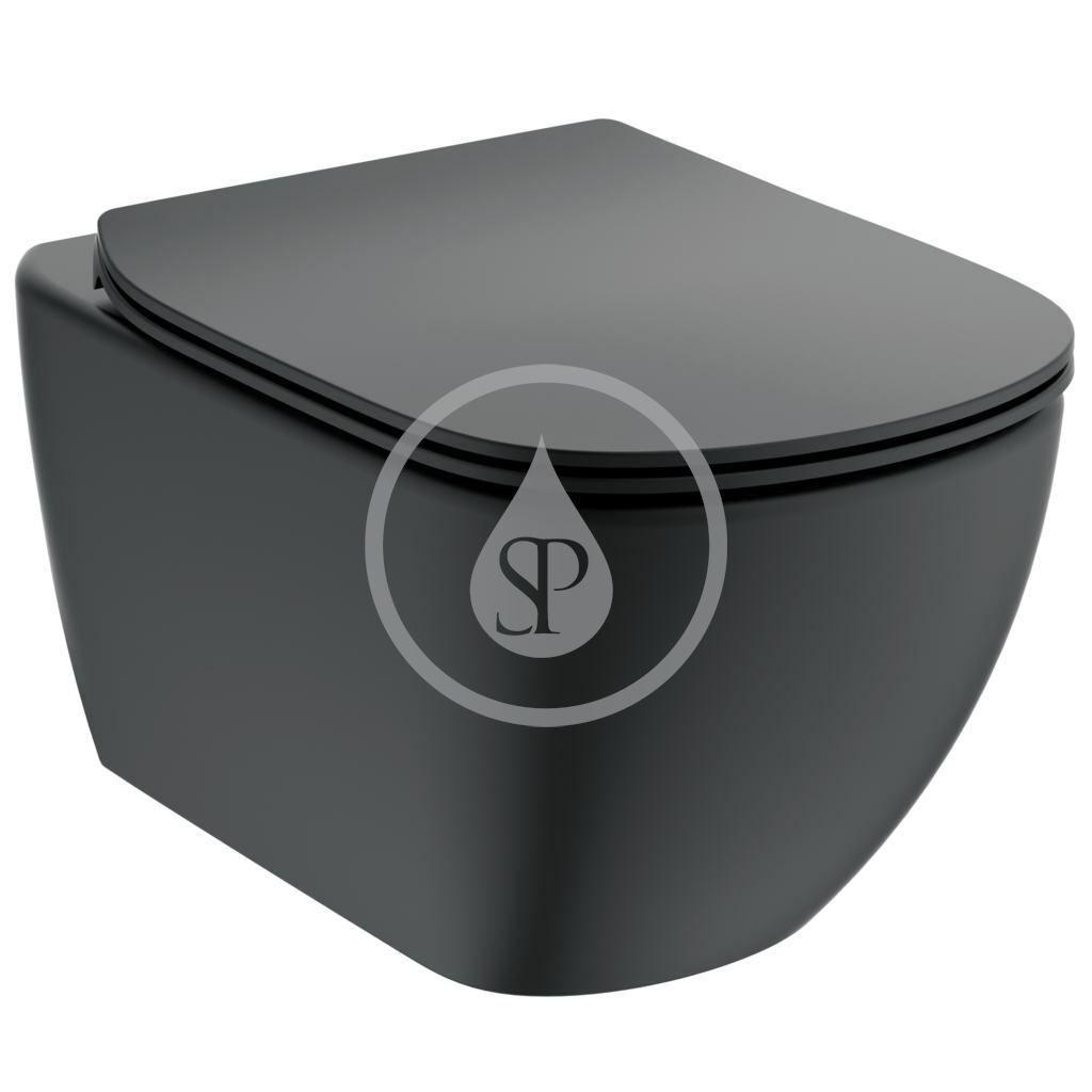 IDEAL STANDARD - Tesi Závesné WC s doskou softclose, Aquablade, čierna T3546V3