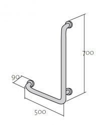 CERSANIT - Rukojeť 50x70 - vertikální/ vodorovná, levá pro WC a sprchové kouty (K97-032), fotografie 6/3