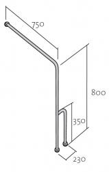 CERSANIT - Madlo 75x80 s montáží do podlahy a stěny pro WC, pravé (K97-037), fotografie 6/3
