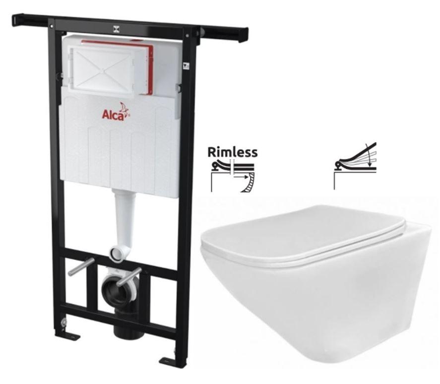 ALCAPLAST  Jádromodul - predstenový inštalačný systém bez tlačidla + WC REA Ivo Rimless + SEDADLO (AM102/1120 X IV1)