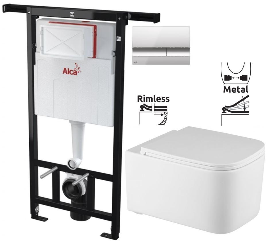 ALCAPLAST Jádromodul - predstenový inštalačný systém s chrómovým tlačidlom M1721 + WC REA Tino Rimlesss + SEDADLO (AM102/1120 M1721 TR1)