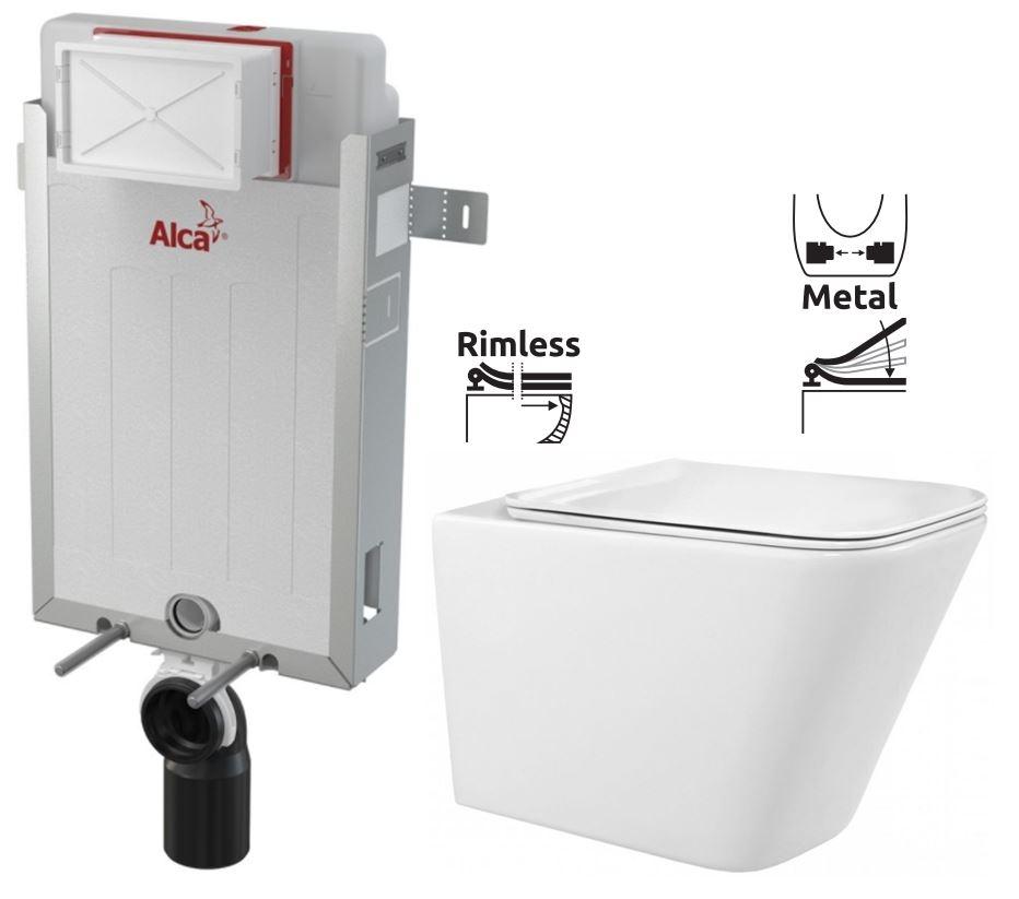 ALCAPLAST  Renovmodul - predstenový inštalačný systém bez tlačidla + WC REA Raul Rimless + SEDADLO (AM115/1000 X RA1)
