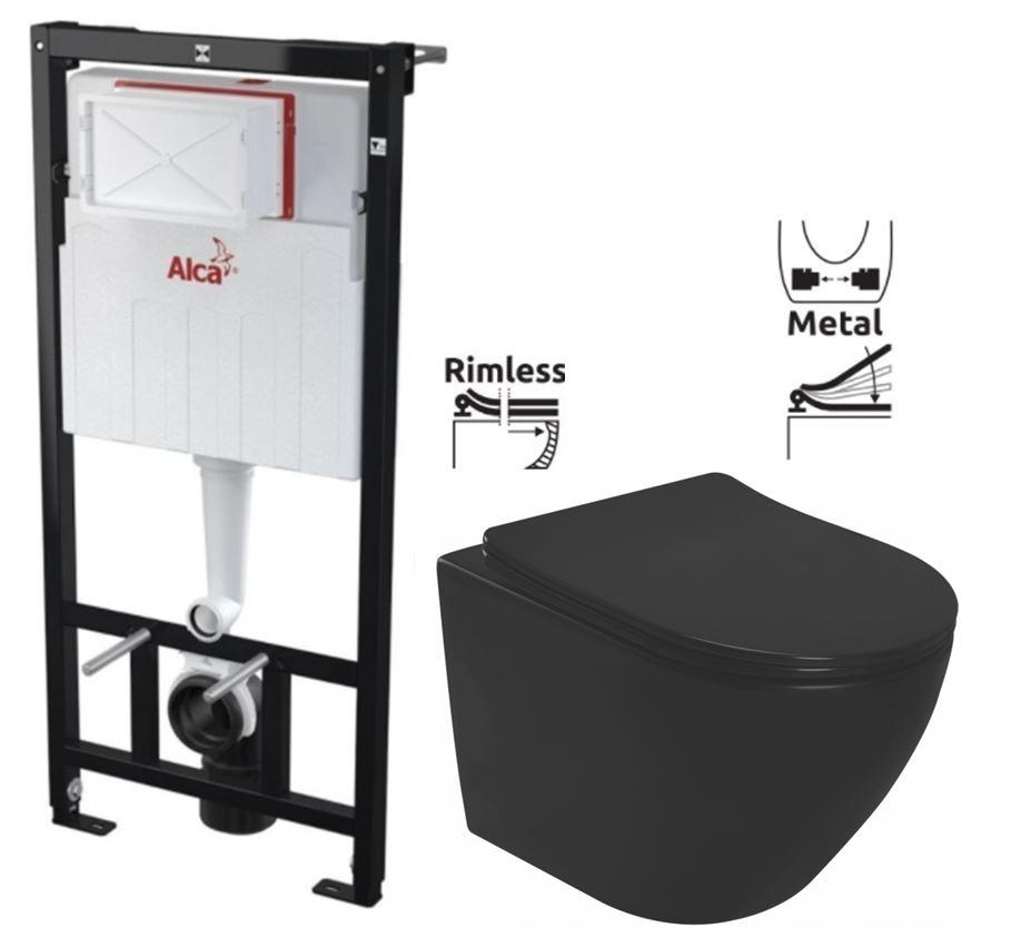 ALCAPLAST Sádromodul - predstenový inštalačný systém bez tlačidla + WC REA CARLO MINI RIMLESS ČIERNY MAT + SEDADLO (AM101/1120 X MM1)