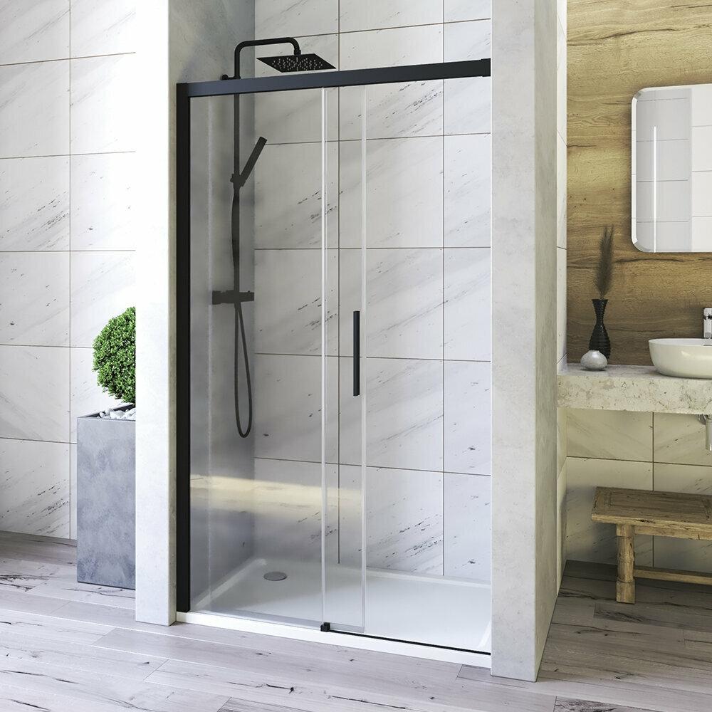 Aquatek - WELLNESS BLACK B2 155 Sprchové dvere zasúvacie 152-156cm, sklo 6mm (WELLNESSBLACKB2155)