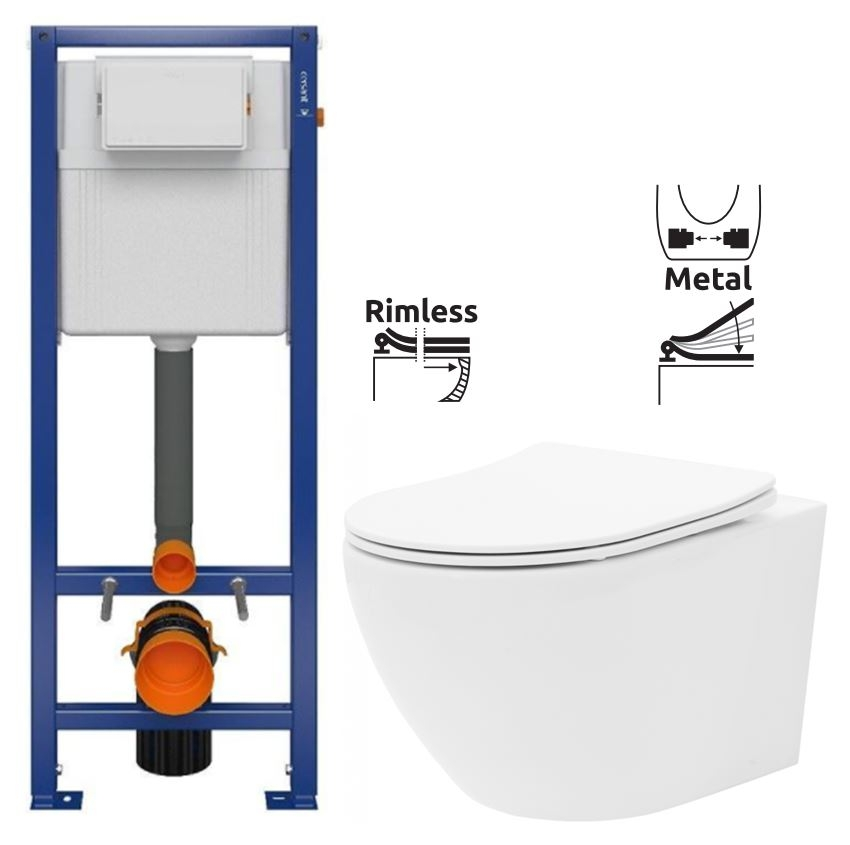 CERSANIT nádržka AQUA 02 bez tlačidla + WC REA Carlo Flat Mini Rimlesss + SEDADLO (S97-063 CF1)