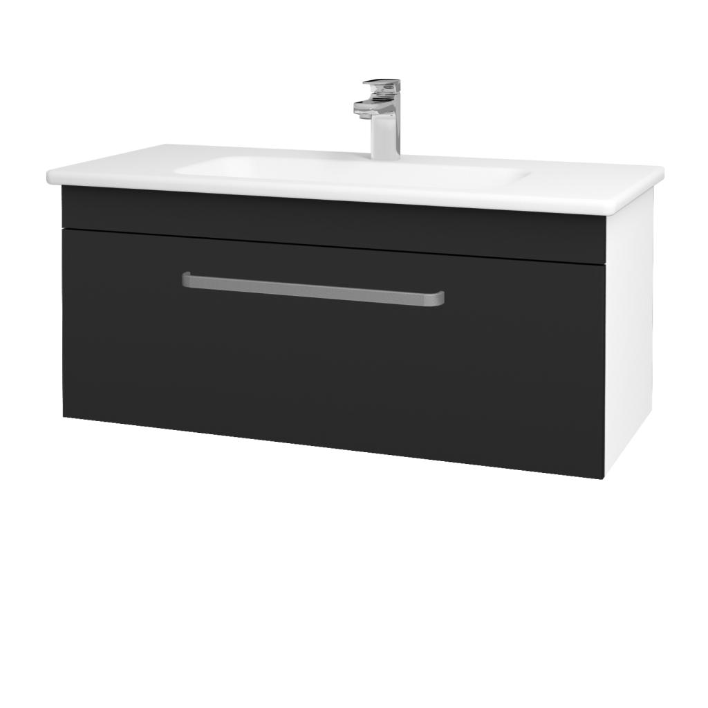 Dreja - Kúpeľňová skriňa ASTON SZZ 100 - N01 Bílá lesk / Úchytka T01 / L03 Antracit vysoký lesk (137540A)