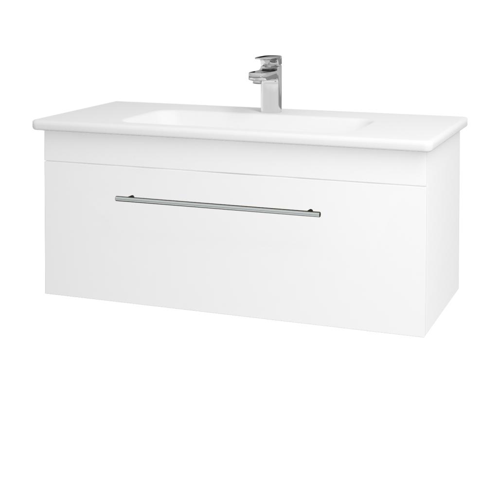 Dreja - Kúpeľňová skriňa ASTON SZZ 100 - N01 Bílá lesk / Úchytka T02 / L01 Bílá vysoký lesk (137557B)