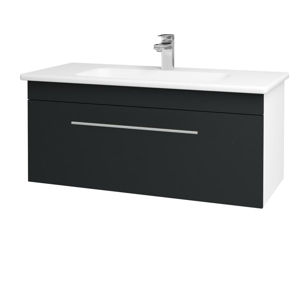 Dreja - Kúpeľňová skriňa ASTON SZZ 100 - N01 Bílá lesk / Úchytka T02 / L03 Antracit vysoký lesk (137540B)