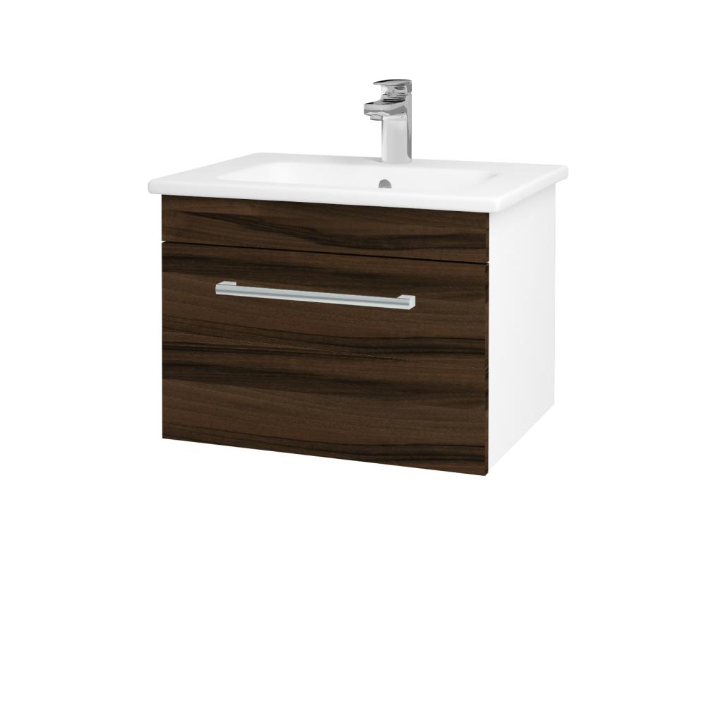 Dreja - Kúpeľňová skriňa ASTON SZZ 60 - N01 Bílá lesk / Úchytka T03 / D06 Ořech (130930C)