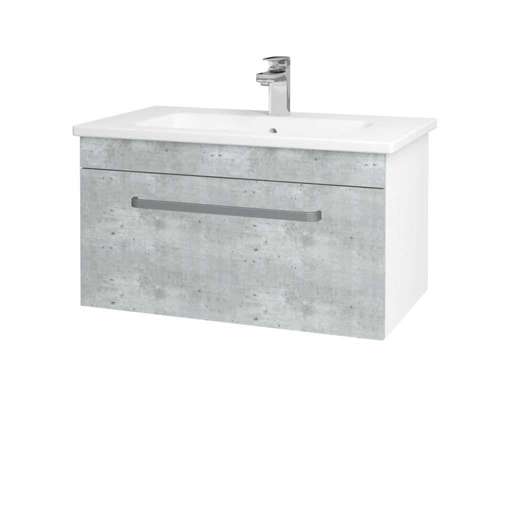Dreja - Kúpeľňová skriňa ASTON SZZ 80 - N01 Bílá lesk / Úchytka T01 / D01 Beton (130954A)