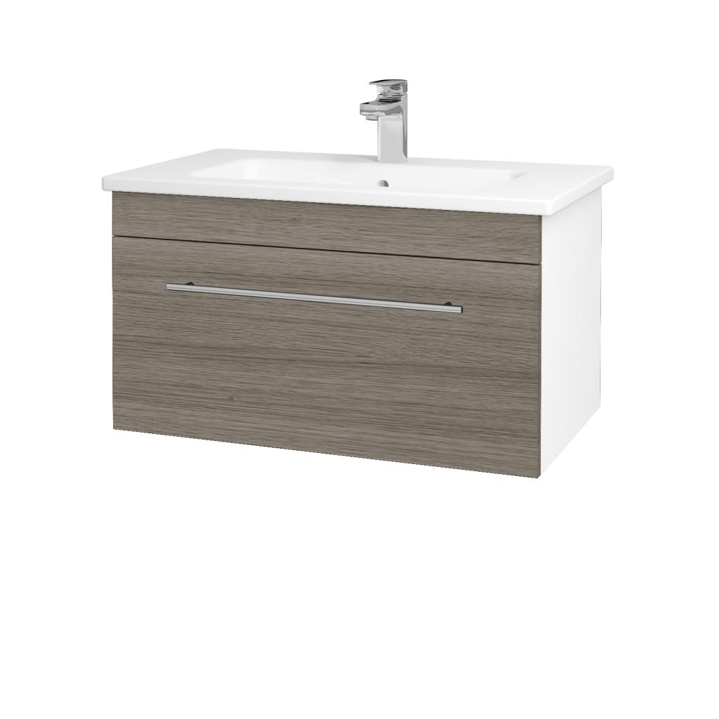 Dreja - Kúpeľňová skriňa ASTON SZZ 80 - N01 Bílá lesk / Úchytka T02 / D03 Cafe (130978B)
