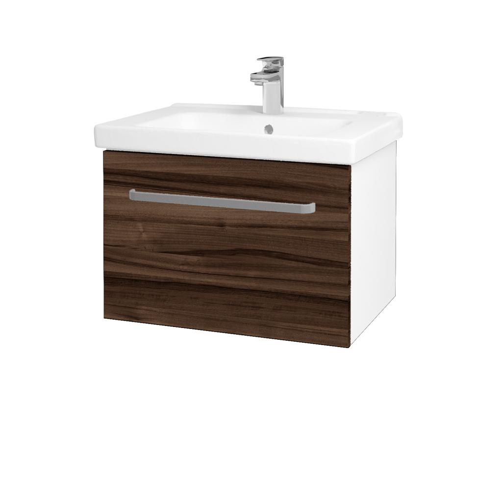 Dreja - Kúpeľňová skriňa BIG INN SZZ 65 - N01 Bílá lesk / Úchytka T01 / D06 Ořech (132439A)