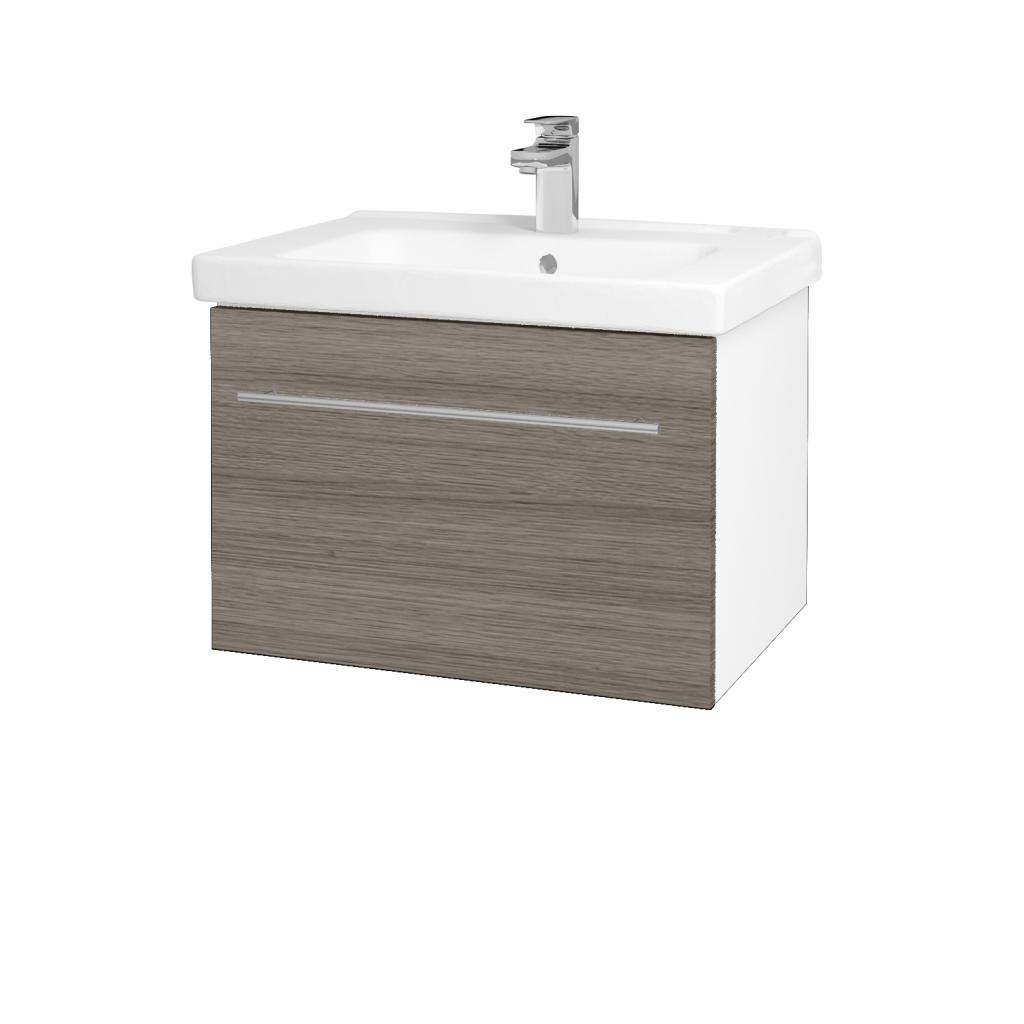 Dreja - Kúpeľňová skriňa BIG INN SZZ 65 - N01 Bílá lesk / Úchytka T02 / D03 Cafe (132408B)