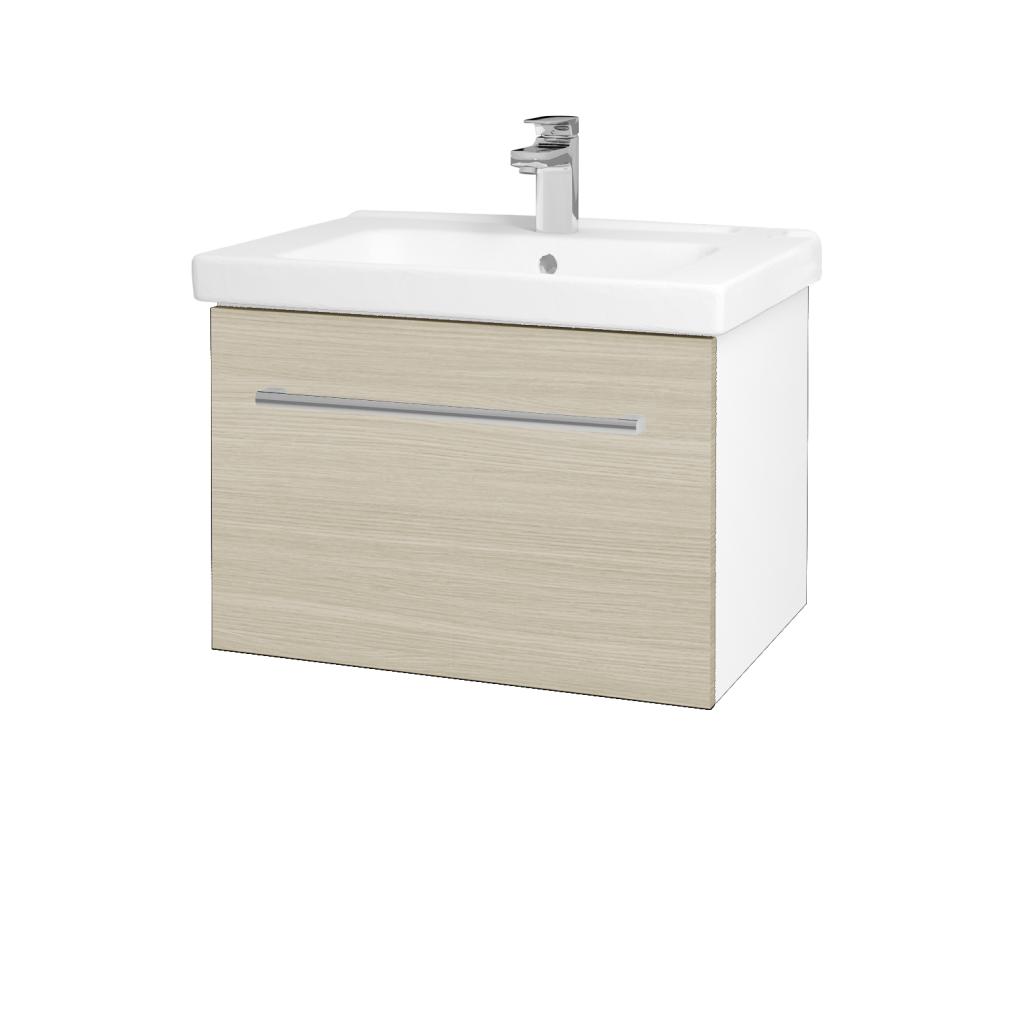 Dreja - Kúpeľňová skriňa BIG INN SZZ 65 - N01 Bílá lesk / Úchytka T03 / D04 Dub (132415C)