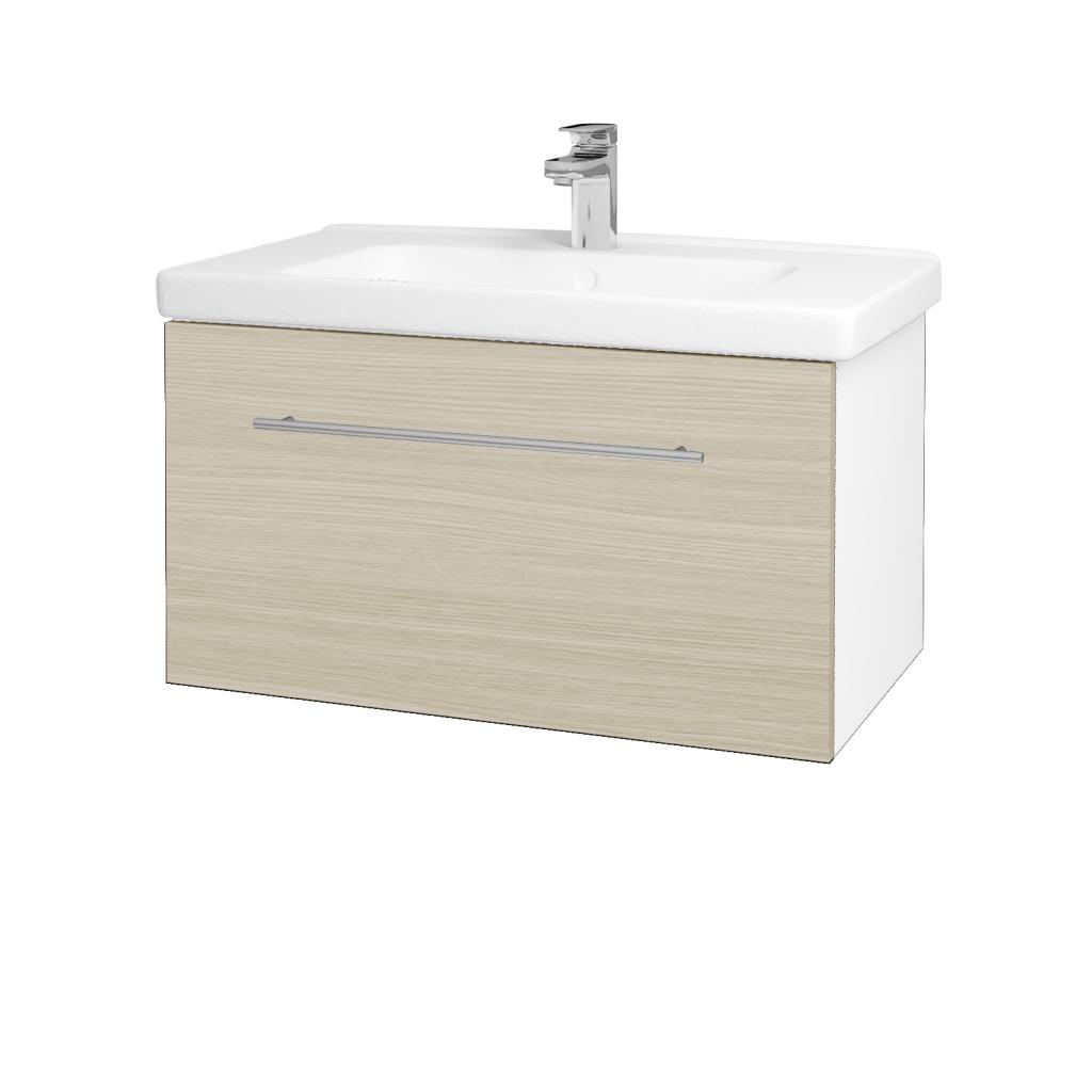 Dreja - Kúpeľňová skriňa BIG INN SZZ 80 - N01 Bílá lesk / Úchytka T02 / D04 Dub (132477B)