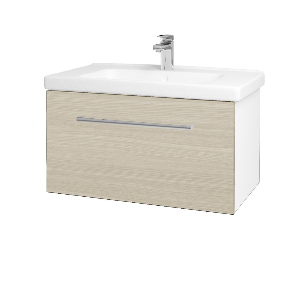 Dreja - Kúpeľňová skriňa BIG INN SZZ 80 - N01 Bílá lesk / Úchytka T03 / D04 Dub (132477C)