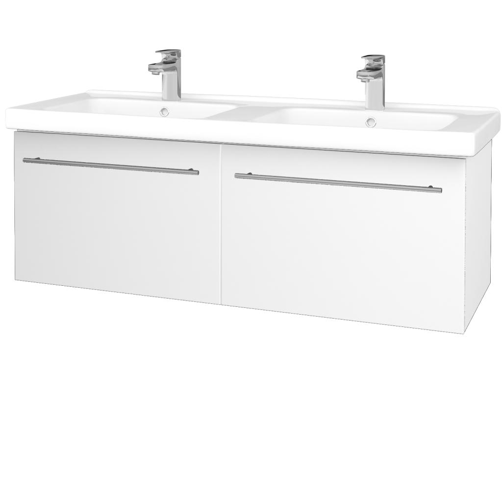 Dreja - Kúpeľňová skriňa BIG INN SZZ2 125 - N01 Bílá lesk / Úchytka T02 / L01 Bílá vysoký lesk (23303B)